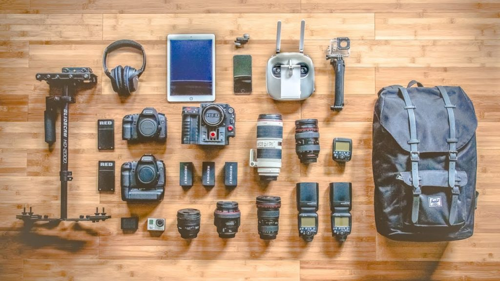 A range of photography equipment that may be used by fashion photographers
